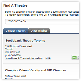 Cineplex Entertainment website