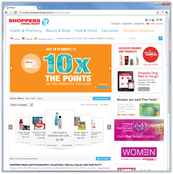 Shoppers Drug Mart website